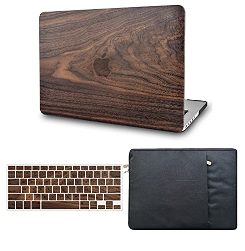 KECC Laptop Case Compatible with MacBook Air 13' Retina (2020/2019/2018, Touch ID) w/Keyboard Cover + Sleeve Plastic Hard Shell Case A1932 3 in 1 Bundle (Walnut Wood)