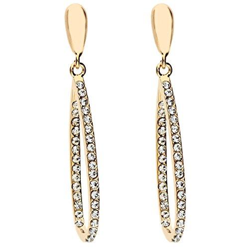 MYA art Damen Ohrhänger Ohrringe Hängend Oval Tropfen Anhänger mit doppel weißen Swarovski Elements Steinen Edelstahl Vergoldet Gold MYAGOOHR-26