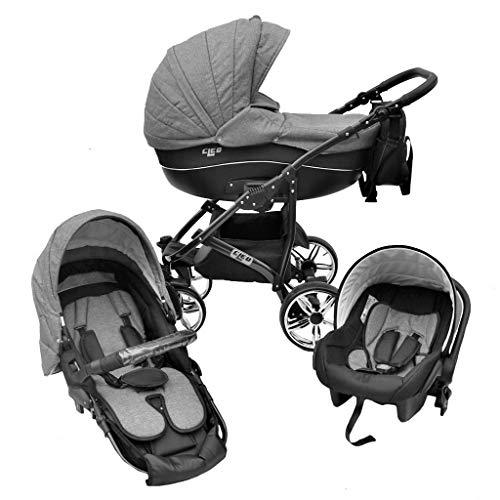 Cleo Kombi Kinderwagen 3 in 1 mit Vollgummireifen - grau/schwarz