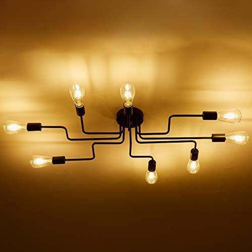 Sputnik 8-Light Semi Flush Mount Ceiling Light, Matte Black Finish, Modern Industrial Lighting Fixture for Dining Room Living Room Bedroom Kitchen