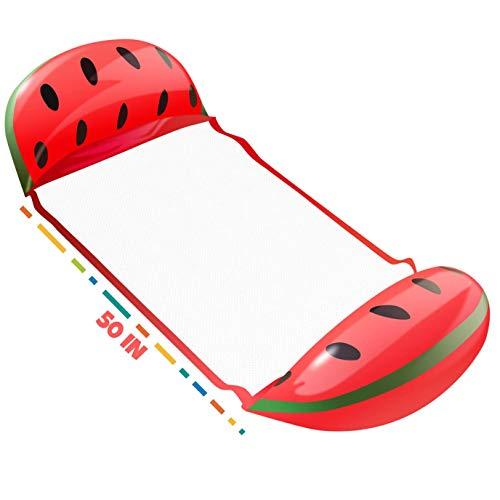 Ideal Swan Wasserhängematte Aufblasbares Schwimmbett Wasser Hängematte 4-in-1 [Hängematte + Liegestuhl + Drifter + Übungssattel] für Swimming Pool Beach Sea - Wassermelone