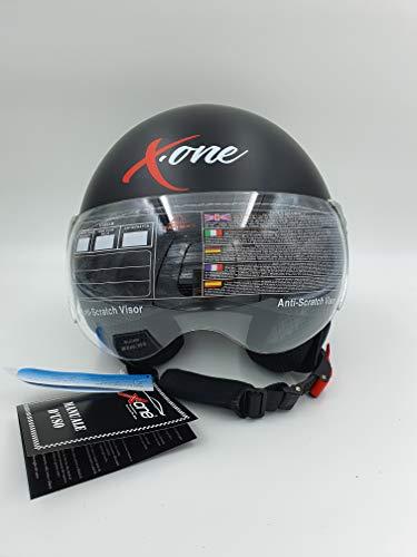XL-61//62, NERO-OPACO OMOLOGAZIONE ECE 22.05R XONE ACCESSORI AUTO SRL CASCO MOTO SCOOTER DEMI JET SMINTEGRALE CON VISIERA ANTIRIFLESSO