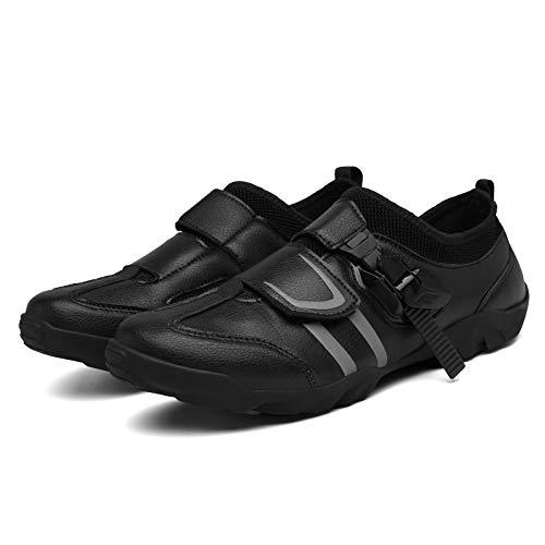 Zapatos de Ciclismo Profesionales,Zapatos de Ciclismo Sin Bloqueo Para Hombres/Mujeres,Zapatos de Bicicleta de Montaña,Zapatos de Ciclismo Sin Bloqueo Son Adecuados,Black-45