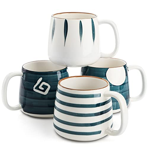 DEAYOU Porcelain Coffee Mugs Set of 4, 17 Oz Ceramic Coffee Mugs Cups with Handles, Large Stoneware Mugs for Tea, Hot or Cold Drinks, Cappucino, Hot Chocolate, Milk, Hand-Painted Patterns (4 Styles)