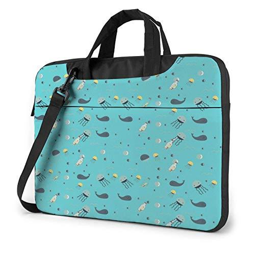 Laptop Messenger Laptop Bag Baby Blue Aquarius Flow Bottle Bolso Bandolera Maletín Office Laptop Sleeve Case Satchel Tablet para Hombres Mujeres
