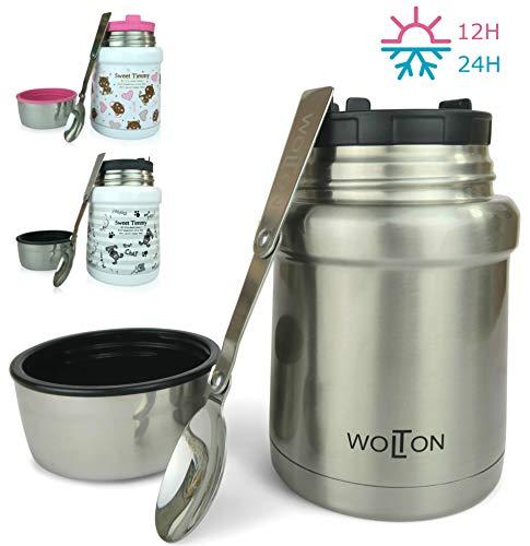 Wenburg Thermobehälter/Isolierbehälter Wolton - 450 ml I Premium Speisebehälter mit Löffel, für Essen, Babynahrung, Suppen. Edelstahl Vakuum Lunchbox für Unterwegs I Baby (Grau, 450 ml)