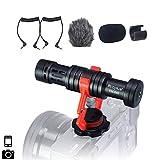Mcoplus VM-D02 - Micrófono externo para cámara de fotos Canon Nikon Sony DSLR Cam, Videocámara, iPhone, Android Smartphone (rotación 360º)