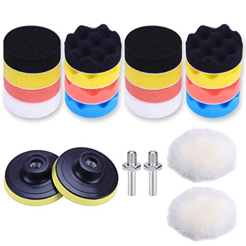 JUSTTOP Car Foam Drill Polishing Pad Kit 22 PCS, 3-inch Sponge Pad Kits with Different Shapes and Hardness, Wool Polishing Pad, Polisher Pad Bonnet Set Missouri