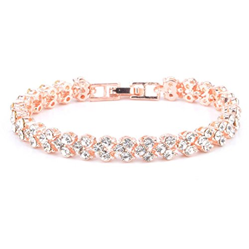 minjiSF Bracelets for Women Girls Roman Style Woman Crystal Diamond Bangle Gifts Jewelry Adjustable Bracelets for Couples Anniversary