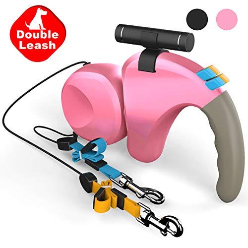 Double Retractable Dog Leash LED Flashlight 360°Tangle-Free Dual Doggie Pet Leash for Walking 2...
