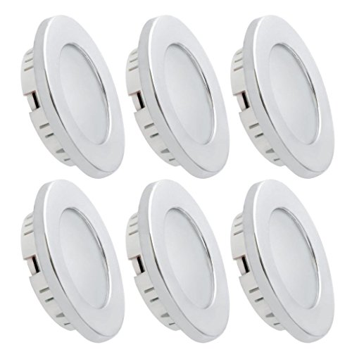 Dream Lighting LED Recessed Ceiling Light for 12volt DC Automotive Interior, Warm White, Silver Bezel, Pack of 6