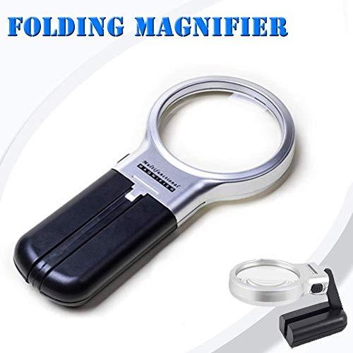 HIGHKAS Lupen, Lupe mit LED-Leuchten Stand Fold Portable Super High Clarity Leichtgewicht Leicht zu halten 3X Makuladegeneration Ablesung niedrig