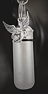 Brushed 2-Tone Silver Soaring Eagle Cemation Urn Keychain with Engraved American Flag - Includes Velvet Pouch & Fill Kit