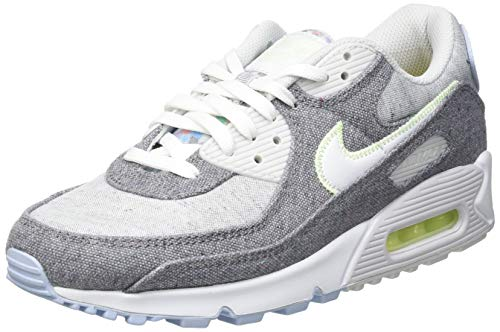 Nike Air MAX 90 NRG, Zapatillas para Correr Hombre, Vast Grey White Barely Volt Celestine Blue BRT Crimson Black, 40 EU