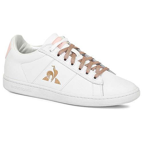 Le Coq Sportif COURTCLASSIC, Zapatillas para Mujer, Optical White/Cloud Pink, 36 EU