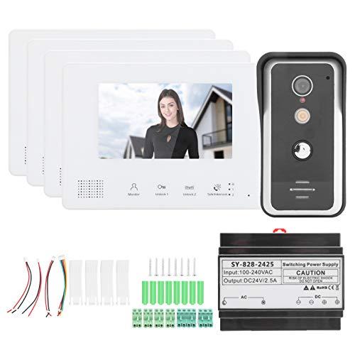 Sistema de intercomunicación con Video de Alambre, Timbre Visual de 7 Pulgadas, teléfono de Puerta con visión Nocturna y 4 Pantallas