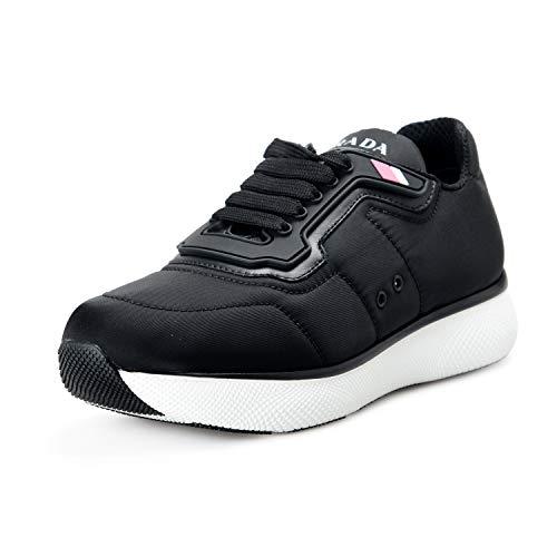 Prada Women's Black Canvas Fashion Sneakers Shoes US 9.5 IT 39.5