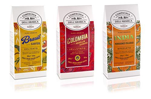 Caffè Corsini Compagnia Dell'Arabica Brasil, Colombia E India Paquete De Café Molido De Origen Único, Paquete De 3 X 250 G 250 g