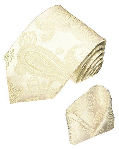Lorenzo Cana - Marken Set aus 100% Seide - Krawatte und Einstecktuch - Hochzeitskrawatte Ivory Elfenbein Hochzeit Trauung - 84310
