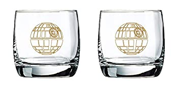 Star Wars Glass Set - Death Star - Collectible Gift Set of 2 Glasses - 10 oz Capacity - Classic Design - Heavy Base