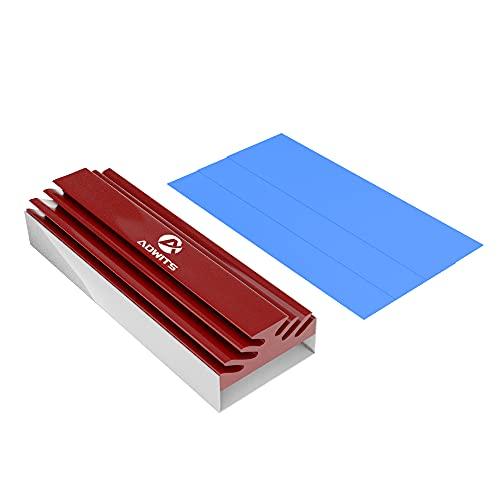 ADWITS Disipador de Calor de Aluminio M.2 SSD con Almohadillas térmicas de Silicona, diseño sin Herramientas y sin Tornillos para M.2 PCIe/NVMe/AHCI/SATA SSD Factor de Forma 2280 - Rojo