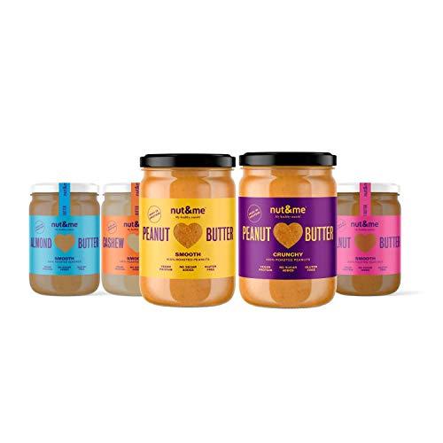 nut&me | Pack de Cremas de Frutos Secos 5 sabores | Cremas de Cacahuete, Avellanas, Almendras y Anacardos | Sin Azúcar | Sin Gluten | Vegano