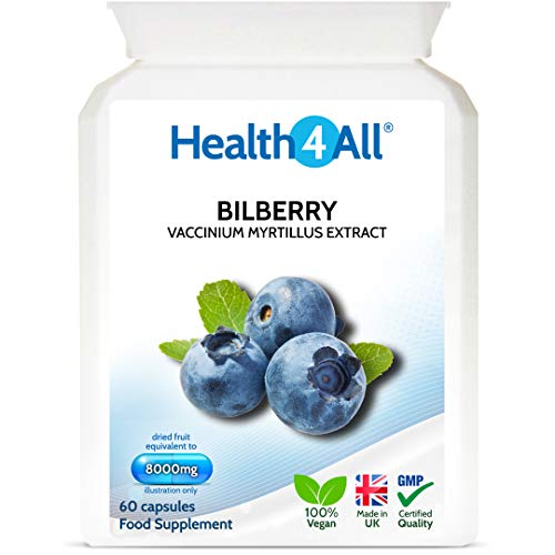 Bilberry Strong Extract 8000mg 60 Capsules (V) Vegan Antioxidant for Eyesight. Made by Health4All