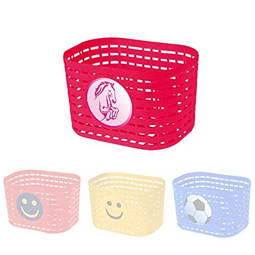P4B | Fahrradkorb für Kinder mit Pferdemotiv in Pink | Kinderfahrradkorb mit einstellbaren Schnellverschlüsse | Befestigung mit Kunststoffbändern | Biegbare Befestigungsbügel