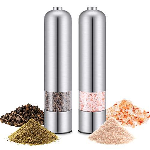 Salz und Pfeffermühle (2er-Set), Magicfun Pfeffermühle Elektrische Gewürzmühle Edle Salzmühle & Pfeffermühle aus Hochwertigem Edelstahl