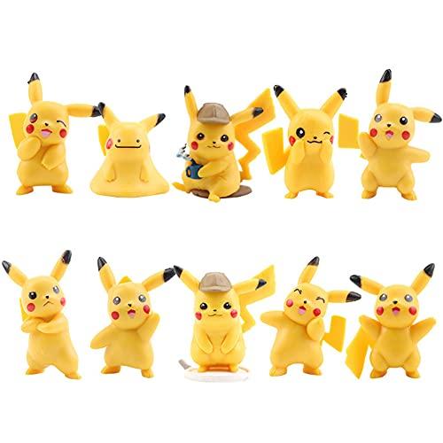 Pikachu Cake Topper, 10PCS Mini Figure Pikachu Monster Action Figure Pikachu Anime Bomboniere Forniture Cake Topper per Baby Shower Forniture per la Decorazione della Torta della Festa di Compleanno