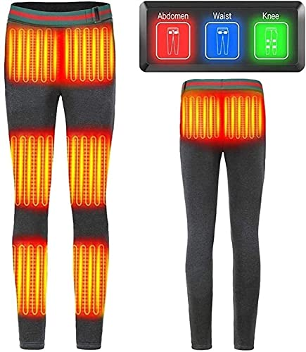SKYWPOJU Pantalones térmicos Pantalones térmicos eléctricos con paneles térmicos de tres zonas Pantalones térmicos para clima frío Camping al aire libre Senderismo Motociclismo Pantalones térmicos elé