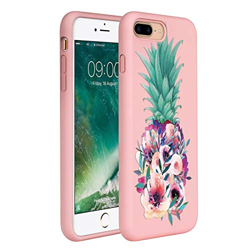 ZhuoFan Funda iPhone 8 Plus / 7 Plus, Cárcasa Silicona Rosa con Dibujos Diseño Suave TPU Antigolpes de Protector Piel Case Cover Bumper Fundas para Movil Apple iPhone 8Plus / 7Plus, Flor de piña