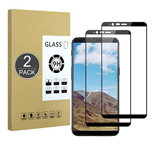E-Hamii a Copertura Totale Pellicola Compatibile con OnePlus 5T[Nero],[Incollato a Schermo Intero][AntiGraffio] Cover Protettiva in Vetro Temperato Premium 9H, per OnePlus 5T