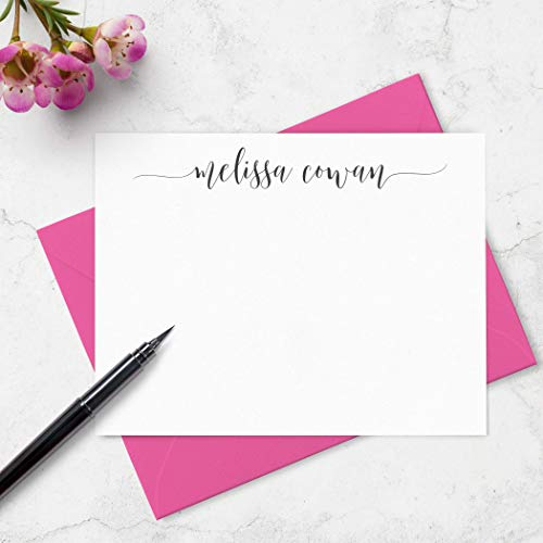 Note Card and Envelopes Boxed Stationery Set Personalized with Name in Calligraphy Script Font - Choose Your Colors and Set Size