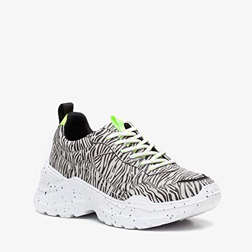 Blue Box meisjes dad sneakers met zebraprint - Zwart