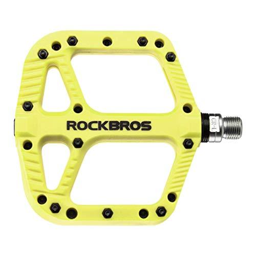 ROCKBROS Pedali per Bici MTB in Nylon ASSE 9/16 Universali Impermeabile Antiscivolo Antipolvere Superficie Larga Leggeri Giallo-Verde