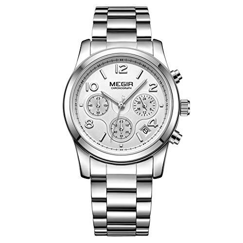 Reloj Analógico Automático para Mujer, Relojes Analógicos Moda Casual para Mujer con Banda de Acero Inoxidable (2057 Plata)