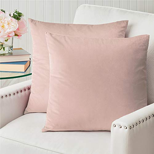 The Connecticut Home Company Original Velvet Pillowcases, Set of 2, Decorative Case Sets, Many Colors, Square Throw Pillow Covers, Luxury Cases for Bedroom, Living Room Sofa Couch, Bed, 18x18, Blush