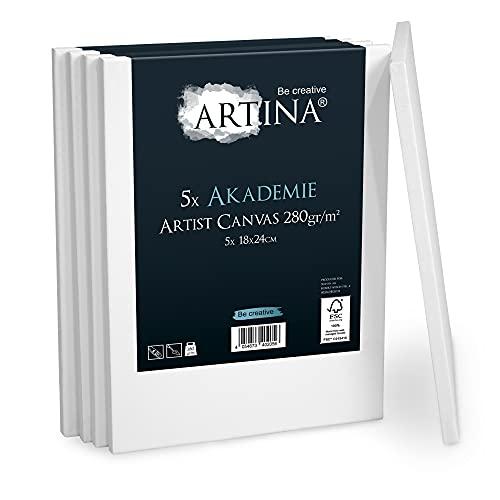 Artina Akademie Leinwand 5er Set 18x24 cm Leinwand auf FSC® Keilrahmen aus 100% Baumwolle auf stabilem Keilrahmen in Akademie Qualität - 280 g/m² zum Bemalen