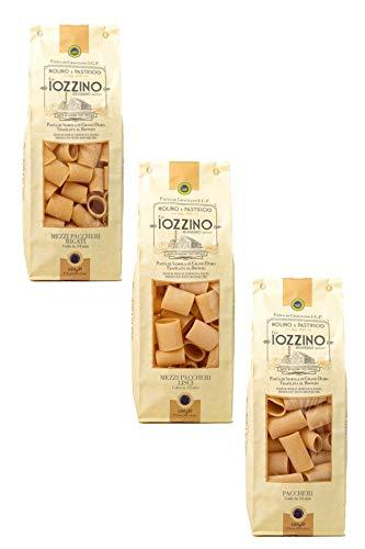 Pastificio F.lli Iozzino - Hartweizen Pasta g.g.A - Auswahl an kurzen Nudeln 3Kg (6x500g) 1 Kg paccheri + 1 Kg mezzi paccheri lisci + 1 Kg mezzi paccheri rigati 