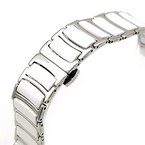 ZJSXIA Correa de Reloj, Correa de cerámica de Acero Inoxidable y Elegante de Acero Inoxidable de 20 mm / 22 mm en Blanco y Negro. Correas de Reloj (Color : White, Size : 22mm)