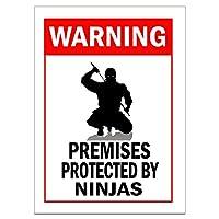 PROTECTED BY NINJAS 金属板ブリキ看板警告サイン注意サイン表示パネル情報サイン金属安全サイン