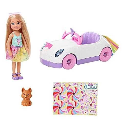 Barbie - Bambola Chelsea Bionda con Auto Decappottabile a Tema Unicorno, Cucciolo e Accessori, Giocattolo per Bambini 3+Anni, GXT41