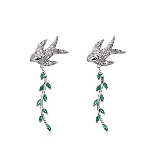 MEEOI exageración de la moda Ear Stud Earrings Ear Hoop 925 de plata esterlina para mujer, Hoja Borla larga Elfos Pendientes Pendientes