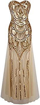 Angel-fashions Women s Sequin Strapless Sweetheart Mesh Lace up Banquet Dress XLarge Gold