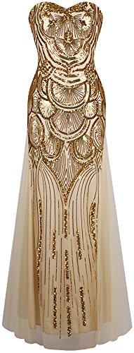 Angel-fashions Damen-Paillettenkleid, trägerlos, süß, Netzstoff, Schnürung, Kleid für Empfänge - Gold - Klein