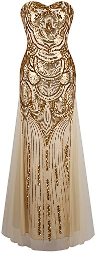 Angel-fashions Damen Paillette Tragerlos Schatz Gitter Schnuren Bankett-Kleid Medium Gold