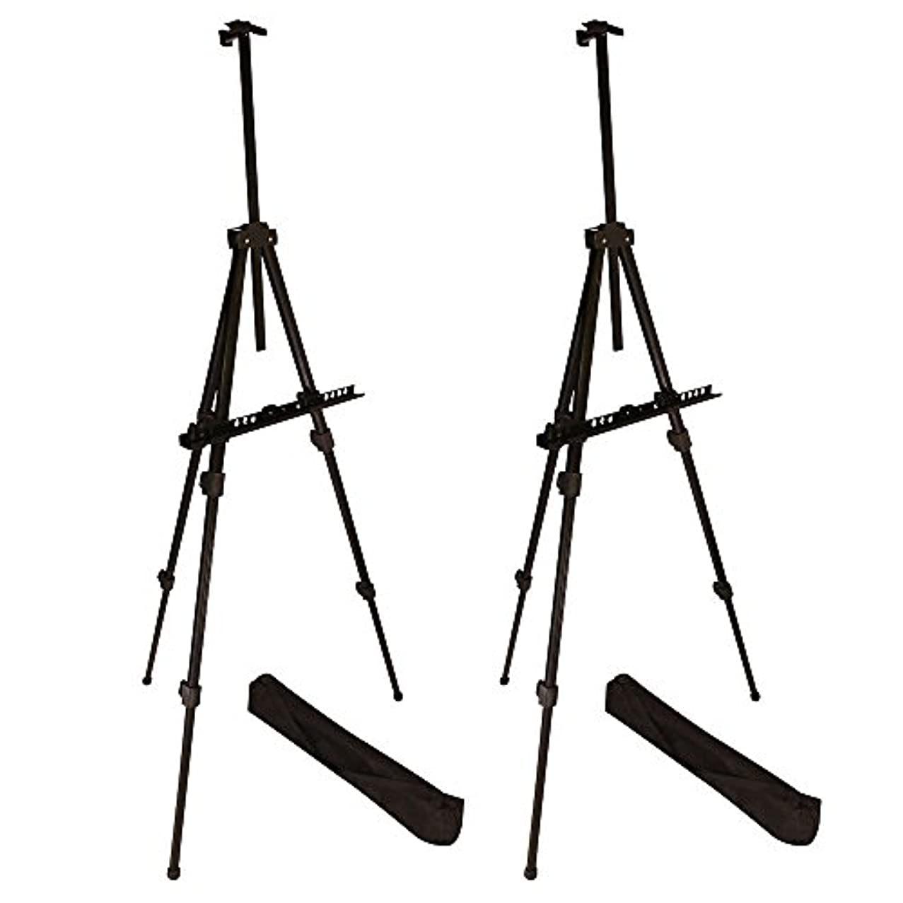 """Berland Artist Easel, Black Aluminum Metal Display Easel Stand with Bag for Floor/Table-Top/Flip Charts, Portable Field Art Easels w/Adjustable Height 22-71"""" for Posters, Kids Painting (2-Pack)"""