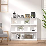 Cozy Castle Bookcase, White Bookshelf, Wood Large Bookshelf, 10-Cube Cubby Storage Shelf, 3-Shelf Bookcase for Office, Display, Library, White