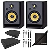 KRK ROKIT RP7G4 7 G4 6.5' Studio Monitoring Speakers w/ AxcessAbles Isolation Pads, Audio Cables and eStudioStar Polishing Cloth